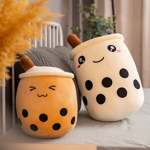 brown bubble milk tea with boba plushie and white bubble milk tea with boba plushie