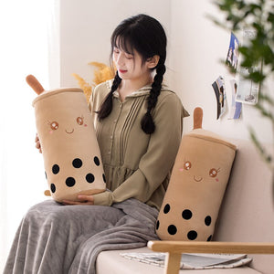 cute bubble milk tea plushie with blanket or without blanket