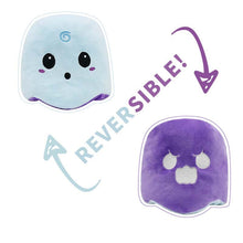 Load image into Gallery viewer, cute reversible ghost plush can be your innocent little ghost or the angry little ghost