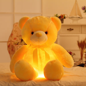 Romantic yellow lighted bear plushie