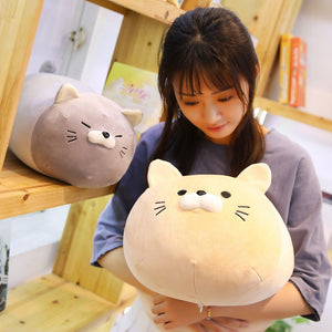 girl hugging khaki cat plushie pillow with grey cat plushie pillow