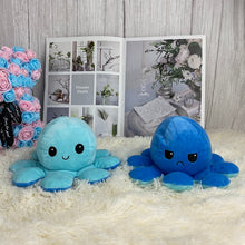 Load image into Gallery viewer, blue octopus plush toy reversible into angry and smiley face perfect gift for partner