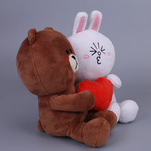 Load image into Gallery viewer, Cute LINE Brownie plushie loves Cute LINE Cony plushie. Do you love this lovey-dovey couple plushie?