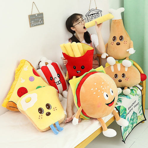 food plushies with chicken drumstick plushie, sausage and hot dog plushie, burger plushie, french fries plushie, popcorn plushie, egg on toast plushie, and pizza plushie