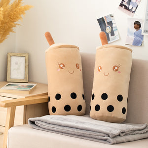 cute bubble milk tea plush toy with blanket