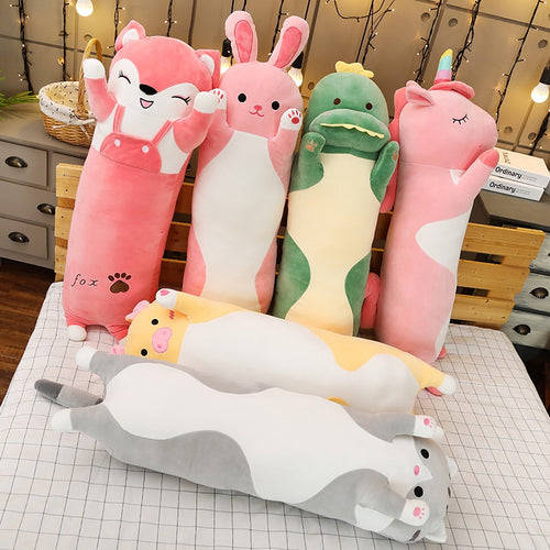pink fox, pink rabbit, green dinosaur, pink unicorn, yellow pig, grey cat long pillow plushies