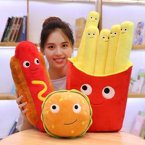 fast food plushies with sausage or hot dog plushie, french fries plushie, burger plushie