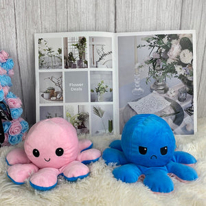 smiley pink octopus plushie and blue angry octopus plushie reversible
