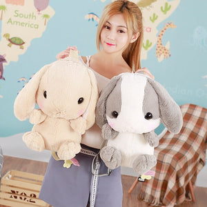 brown and grey stuffed cute bunny backpack