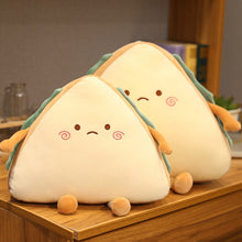 Load image into Gallery viewer, cute worried face sandwich plushie with two sizes for comparison