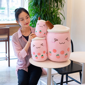 Cute strawberry pink colour boba tea plushie