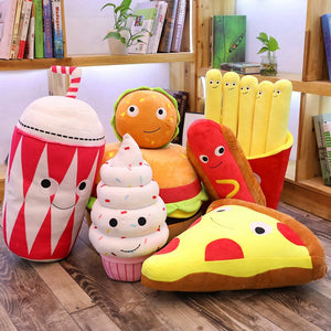 soda plushie, pizza plushie, vanilla ice-cream plushie, burger plushie, sausage/hot dog plushie, french fries plushie