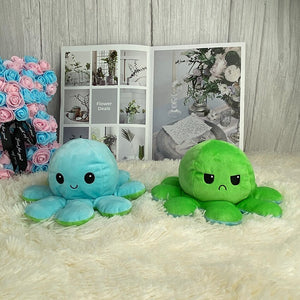 cute light blue and green octopus plush toy reversible into smiley and angry expression perfect gift for couple