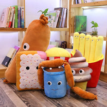 Load image into Gallery viewer, hotdog/sausage plushie, biscuit plushie, hot chocolate drink plushie, chocolate ice-cream plushie, red popcorn plushie, french fries plushie
