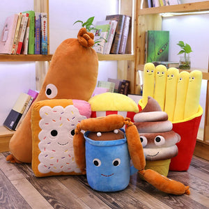 hotdog/sausage plushie, biscuit plushie, hot chocolate drink plushie, chocolate ice-cream plushie, red popcorn plushie, french fries plushie