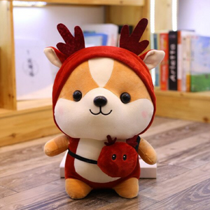 red reindeer dressed up shiba inu plushie