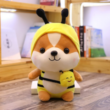 Load image into Gallery viewer, yellow bee dressed up shiba inu plushie