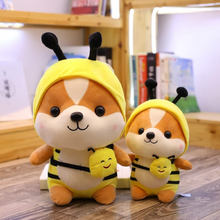 Load image into Gallery viewer, yellow bee dressed up shiba inu plushies