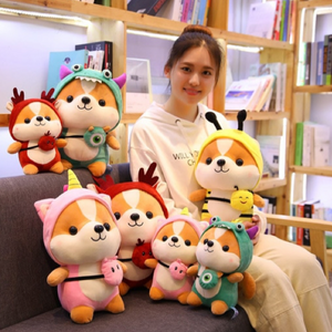 complete collection of dressed up shiba inu plushies