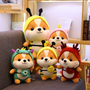 a happy family of yellow bee, red reindeer, green dinosaur and pink unicorn shiba plushies
