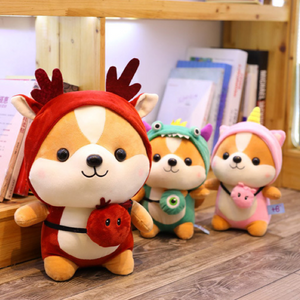 red reindeer, green dinosaur, and pink unicorn shiba plushies
