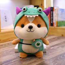 Load image into Gallery viewer, green dinosaur dressed up shiba inu plushie