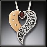 Heart's Desire Fossilized Walrus Ivory Heart Necklace with Garnet