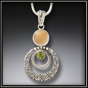 Ripples Fossilized Walrus Ivory Pendant with Peridot