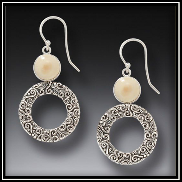 Arctic Sun Silver Mammoth Ivory Earrings