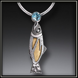 Treasures From the Stream Fossilized Walrus Ivory and Blue Topaz Necklace