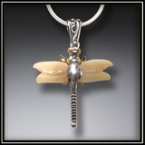 Fossilized Walrus Tusk Ivory Silver Dragonfly Pendant Necklace