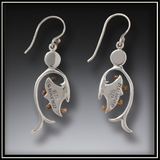 Emergence Fossilized Walrus Ivory Mother of Pearl Earrings