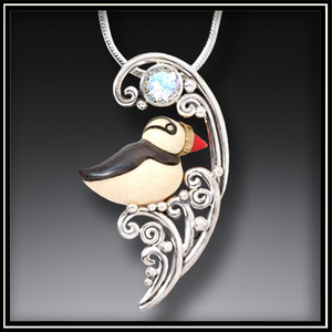Puffin in the Waves Mammoth Tusk Ivory Necklace