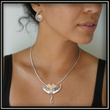 Mammoth Ivory and Silver Manta Ray Necklace