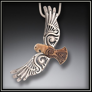 Circling the Sky Fossilized Walrus Ivory and Silver Eagle Pendant