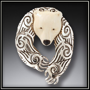 Ancient Mammoth Ivory Silver Alpha Bear Pendant and Pin