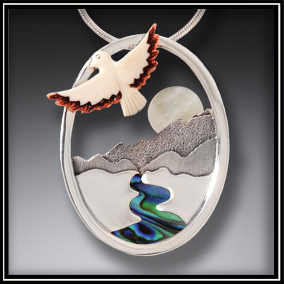 Aim for the Moon Mammoth Ivory Mother of Pearl Pendant