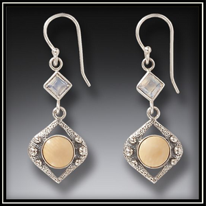 Night Rain Fossilized Mammoth Ivory Rainbow Moonstone Earrings