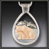 Fossilized Mammoth Ivory Mother of Pear Bear and Cub Pendant