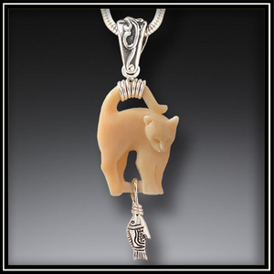 Cat's Meow Ancient Mammoth Ivory and Silver Pendant