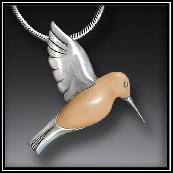 Fossilized Walrus Ivory and Silver Hummingbird Pendant