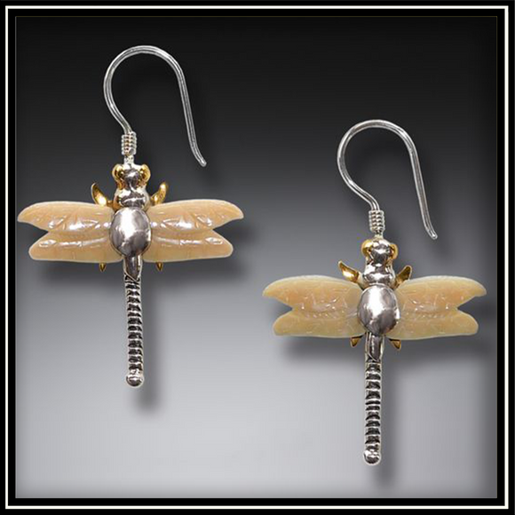 Fossilized Ivory Dragonfly Earrings
