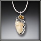 Fossilized Walrus Ivory Goddess Enigma Pendant with Citrine