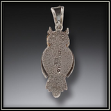 Wise One Fossilized Walrus Ivory and Silver Owl Pendant