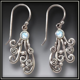 Spray Silver Rainbow Moonstone Drop Earrings