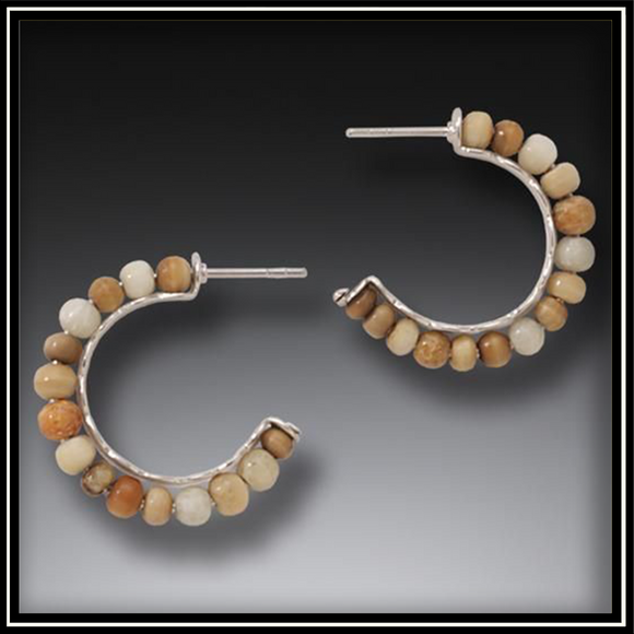 Fossilized Walrus Ivory Ancient Circles Hoop Earrings