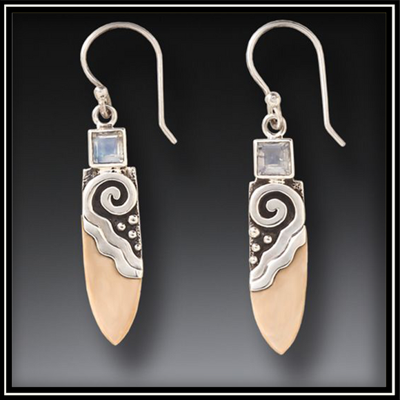 Fossilized Walrus Ivory Life Force Rainbow Moonstone Earrings