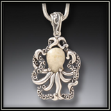 Fossilized Walrus Ivory Octopus Pendant
