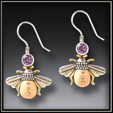 Fossilized Walrus Ivory Amethyst Bee Earrings