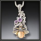 Bee in the Garden Fossilized Walrus Ivory Amethyst Pendant